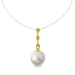 Χρυσό μενταγιόν με γκρι Shell Pearl και διαμάντια - M319976G