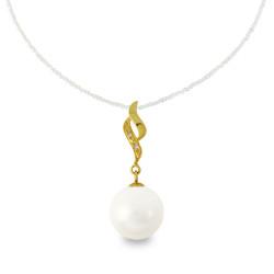 Χρυσό μενταγιόν με λευκό Shell Pearl και διαμάντια - M319977
