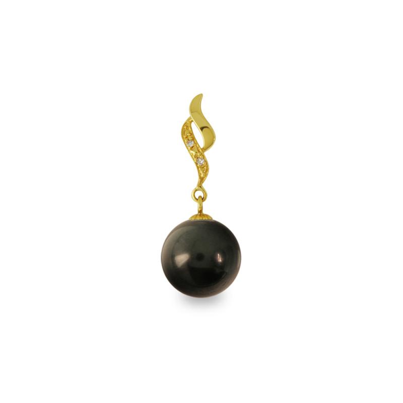Χρυσό μενταγιόν με μαύρο Shell Pearl και διαμάντια - M319977B
