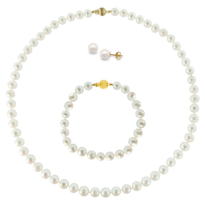 Σετ κολιέ, σκουλαρίκια και βραχιόλι με λευκά μαργαριτάρια - M990005