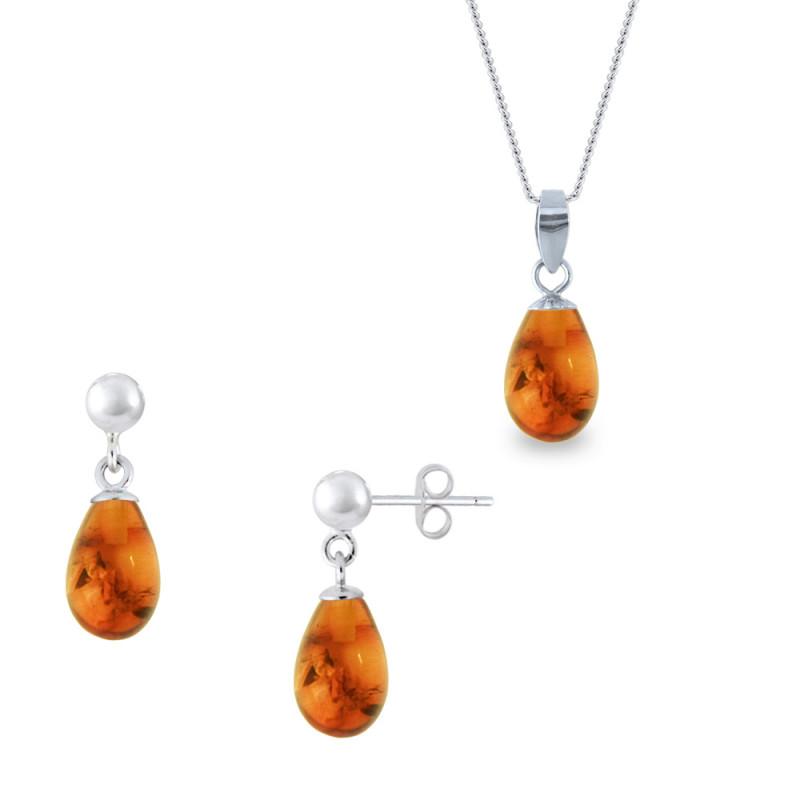 Σετ σκουλαρίκια μενταγιόν με Amber σε ασημένια βάση 925 - M990121