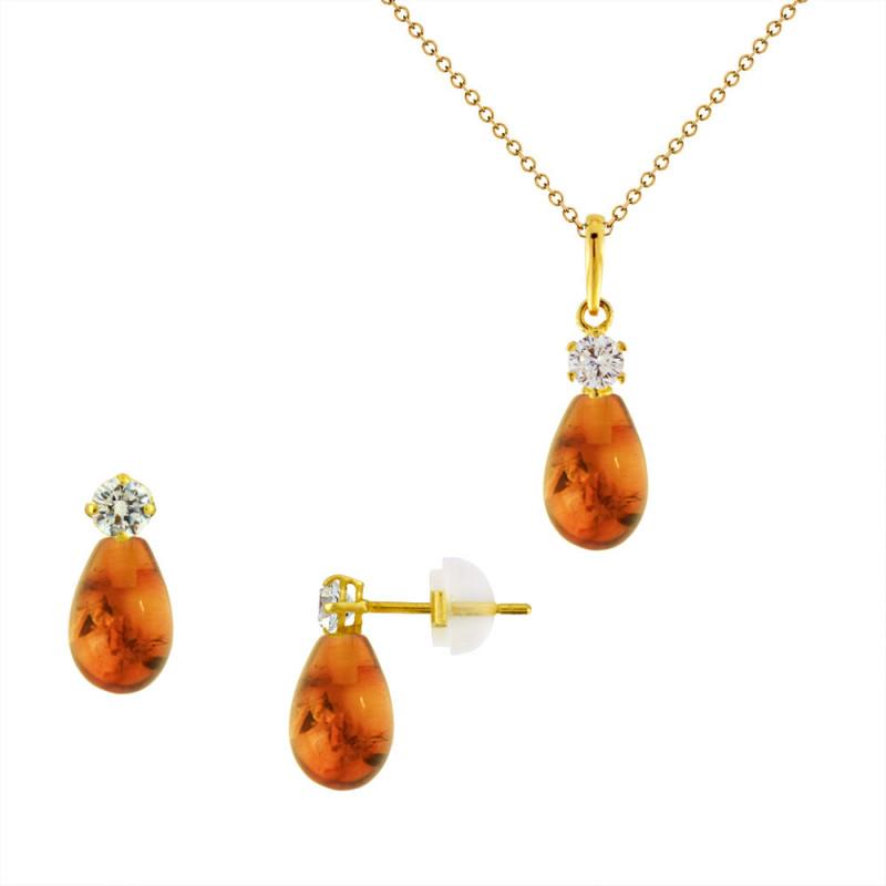 Σετ σκουλαρίκια και μενταγιόν με Amber σε χρυσό Κ14 - M990122