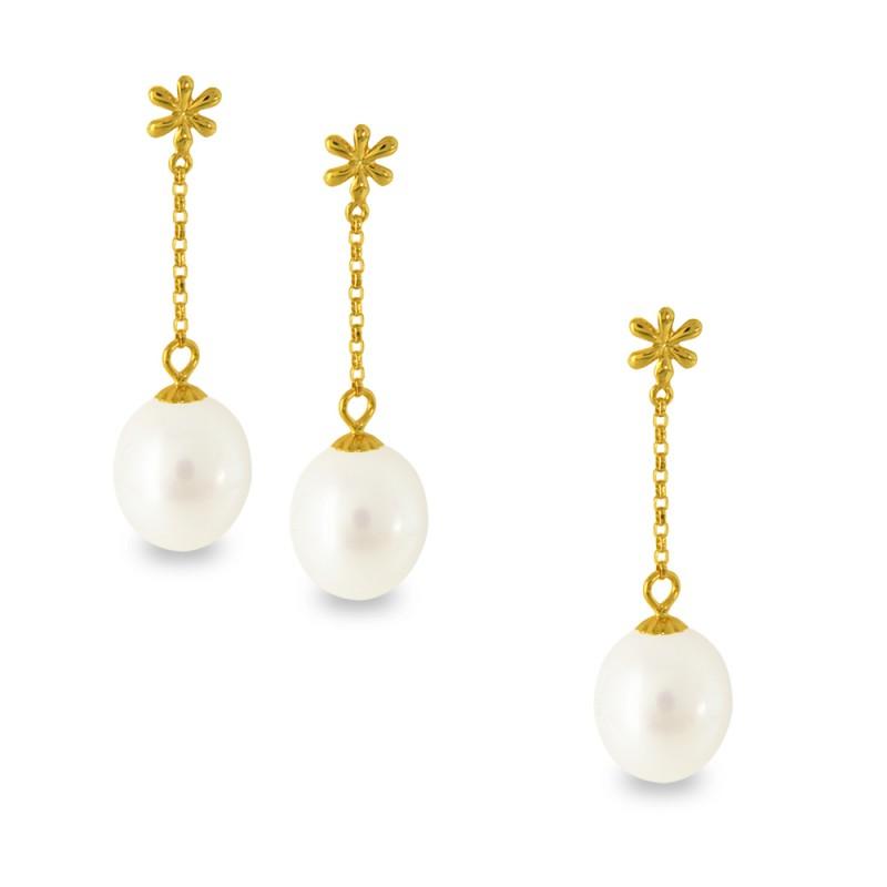 Σετ μενταγιόν και σκουλαρίκια με λευκά μαργαριτάρια