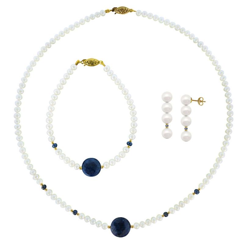 Σετ κολιέ, σκουλαρίκια και βραχιόλι με λευκά μαργαριτάρια και ζαφείρια - M990012