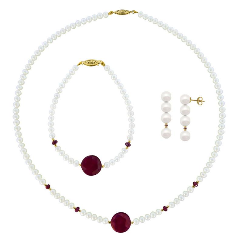 Σετ κολιέ, σκουλαρίκια και βραχιόλι με λευκά μαργαριτάρια και ρουμπίνια - M990013