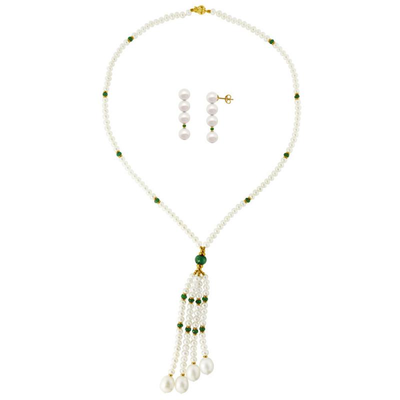 Σετ κολιέ και σκουλαρίκια με λευκά μαργαριτάρια και σμαράγδια - M990023