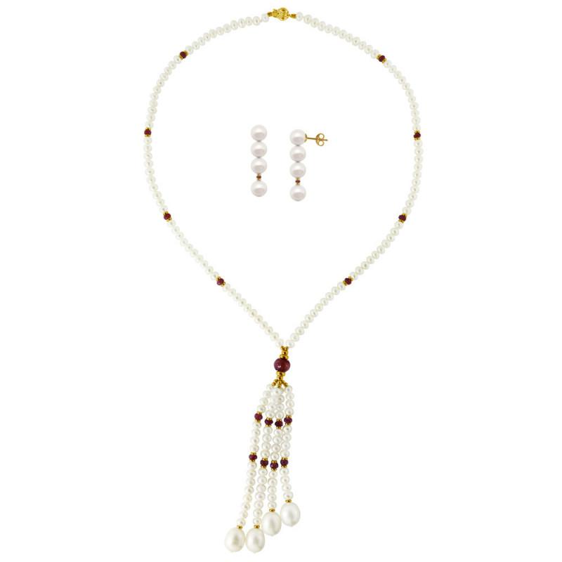 Σετ κολιέ και σκουλαρίκια με λευκά μαργαριτάρια και ρουμπίνια - M990024