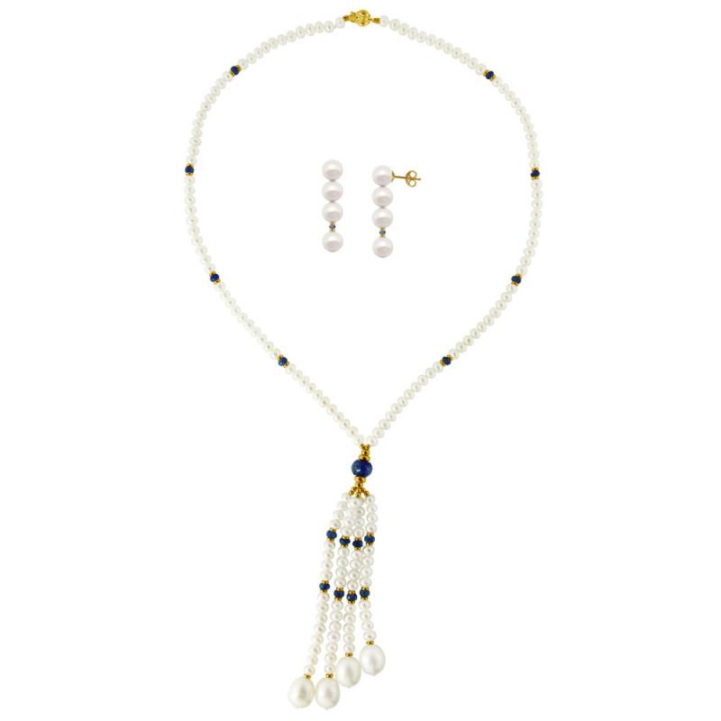 Σετ κολιέ και σκουλαρίκια με λευκά μαργαριτάρια και ζαφείρια - M990025