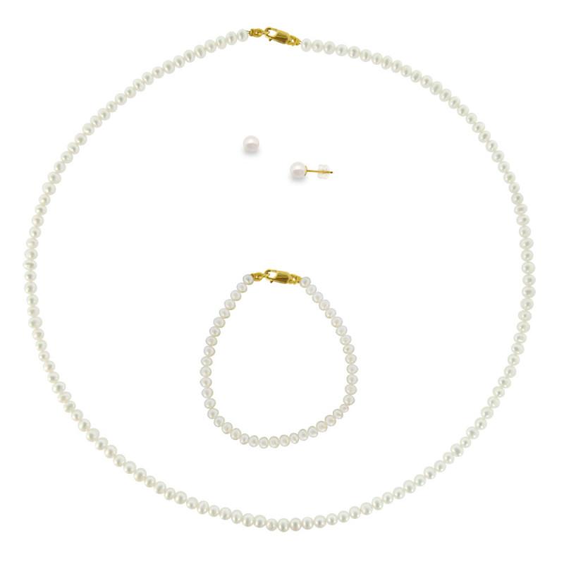 Σετ κολιέ, σκουλαρίκια και βραχιόλι με λευκά μαργαριτάρια - M990034