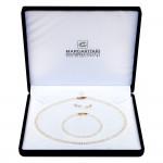 Σετ κολιέ, σκουλαρίκια και βραχιόλι με λευκά μαργαριτάρια - M000034