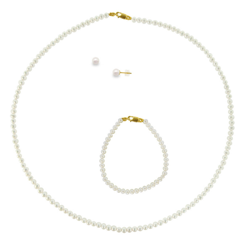 Σετ κολιέ, σκουλαρίκια και βραχιόλι με λευκά μαργαριτάρια - M000035
