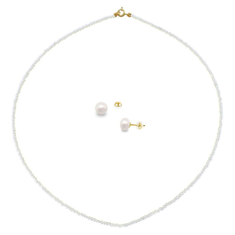 Σετ κολιέ και σκουλαρίκια με λευκά μαργαριτάρια - M000036