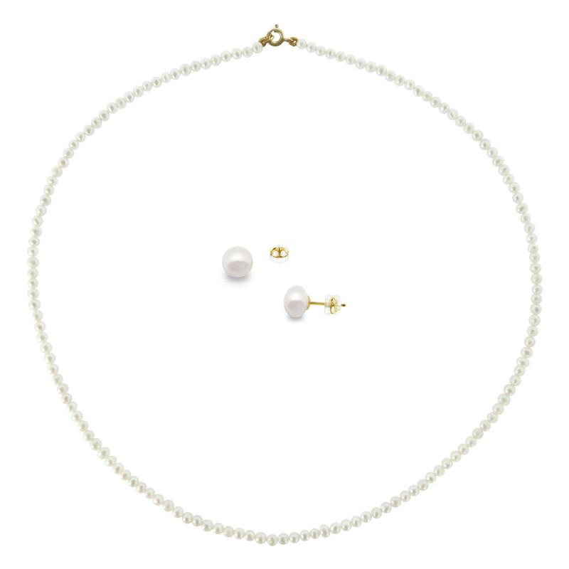 Σετ κολιέ και σκουλαρίκια με λευκά μαργαριτάρια - M990037