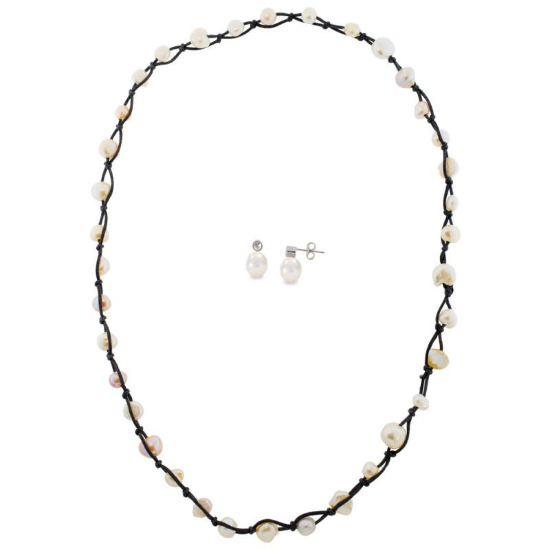 Σετ κολιέ και σκουλαρίκια με μαργαριτάρια - M990038
