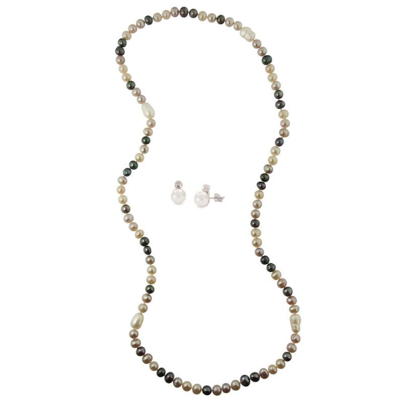 Σετ κολιέ και σκουλαρίκια με μαργαριτάρια - M000039