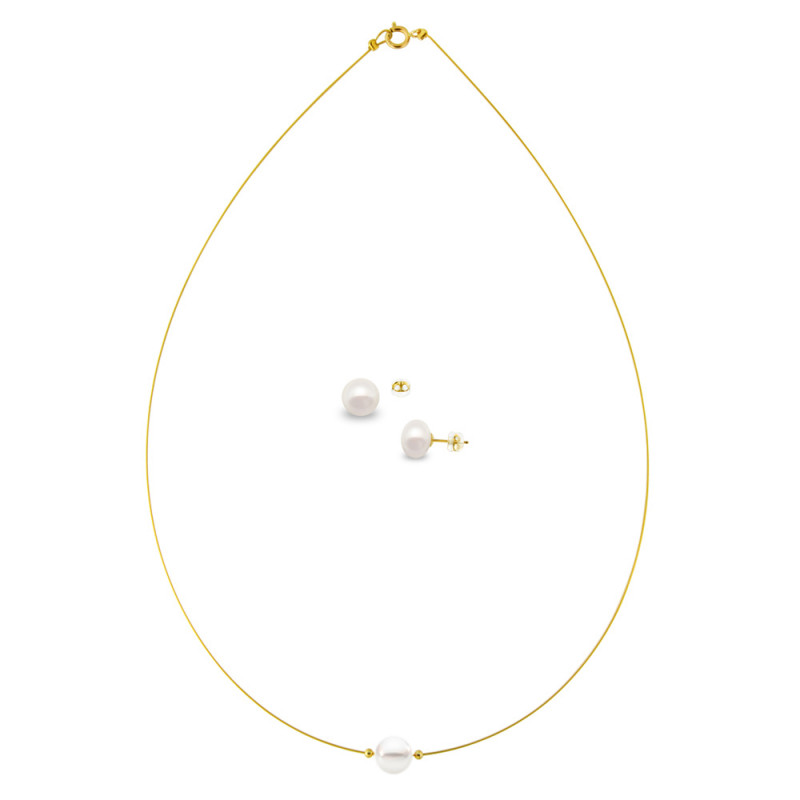 Σετ κολιέ και σκουλαρίκια με μαργαριτάρια - M000040