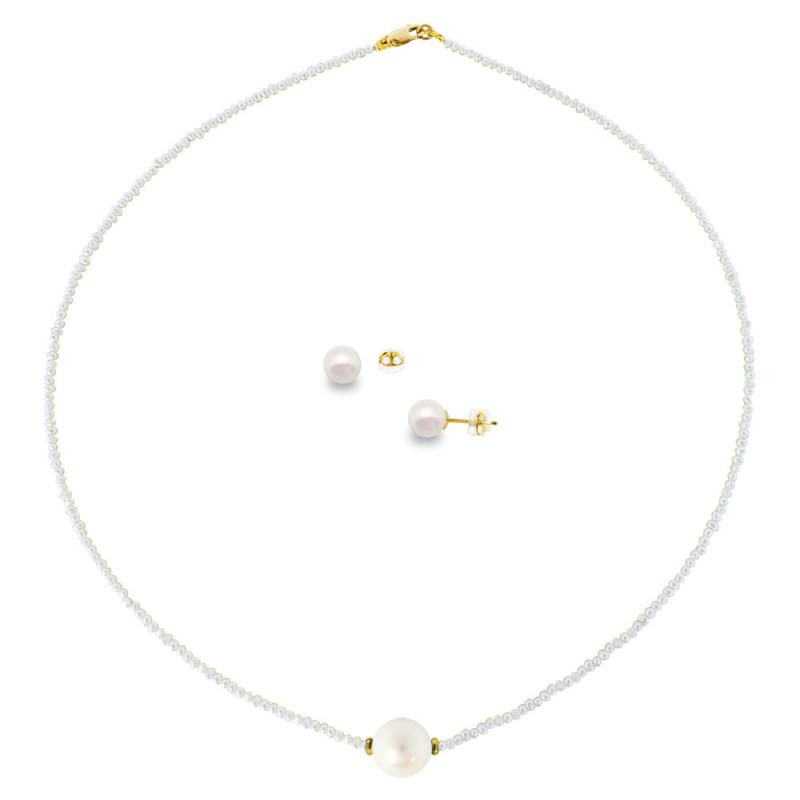 Σετ κολιέ και σκουλαρίκια με μαργαριτάρια - M000041