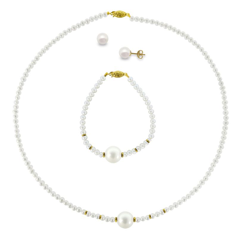 Σετ κολιέ, σκουλαρίκια και βραχιόλι με λευκά μαργαριτάρια - M121493