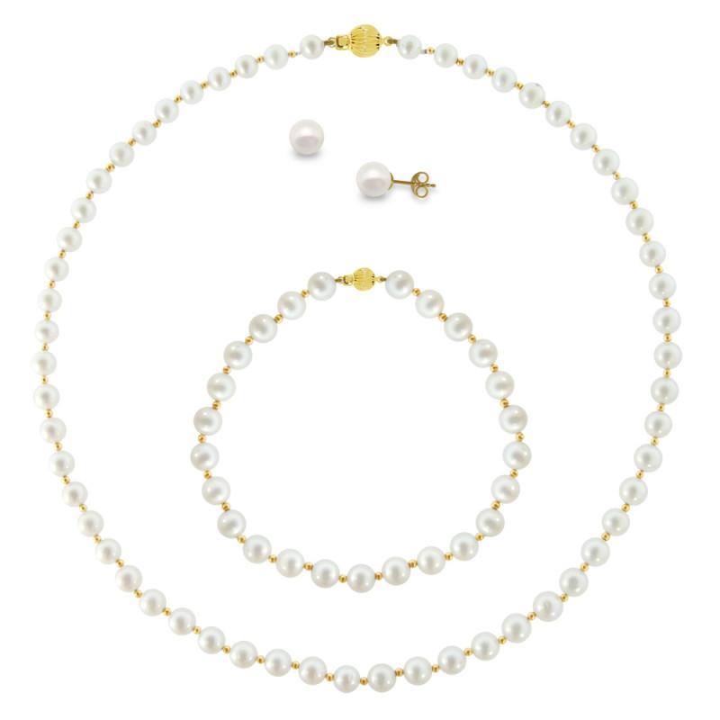 Σετ κολιέ, σκουλαρίκια και βραχιόλι με λευκά μαργαριτάρια - M121494