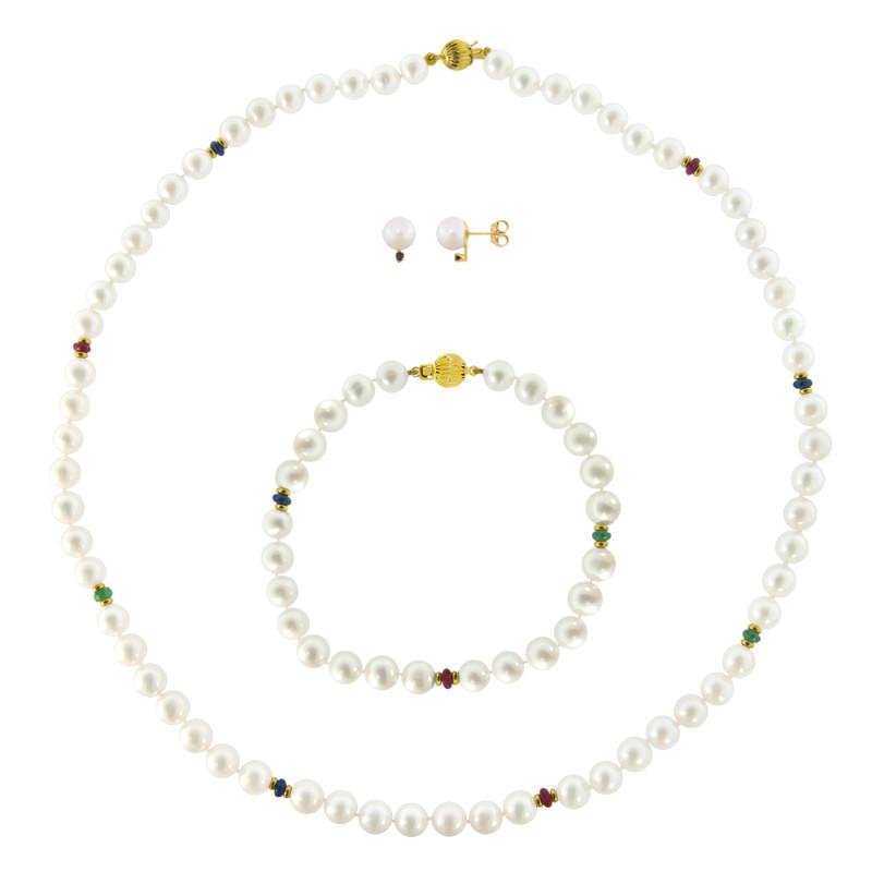 Σετ κολιέ, σκουλαρίκια και βραχιόλι με λευκά μαργαριτάρια - M121495