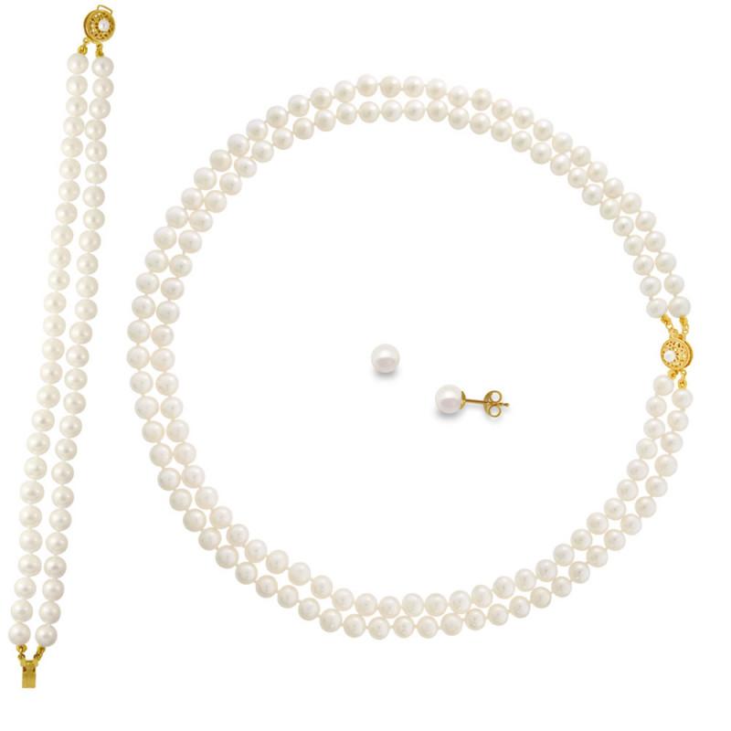 Σετ κολιέ, σκουλαρίκια και βραχιόλι με λευκά μαργαριτάρια - M121496