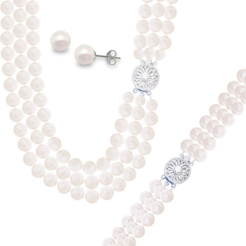 Σετ κολιέ, σκουλαρίκια και βραχιόλι με λευκά μαργαριτάρια - M121497