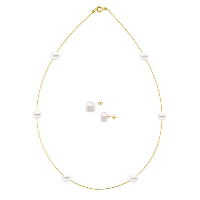 Σετ κολιέ και σκουλαρίκια με μαργαριτάρια - M990042