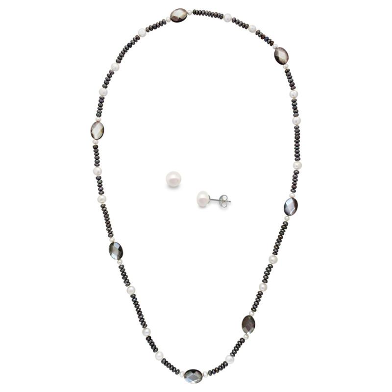 Σετ κολιέ και σκουλαρίκια με μαργαριτάρια - M990043