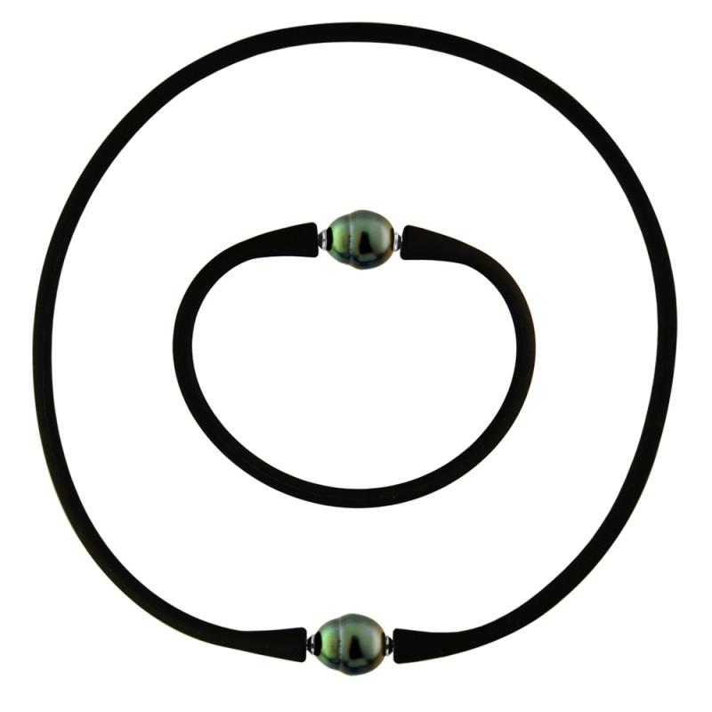 Σετ κολιέ και βραχιόλι με μαύρα μαργαριτάρια - M990047