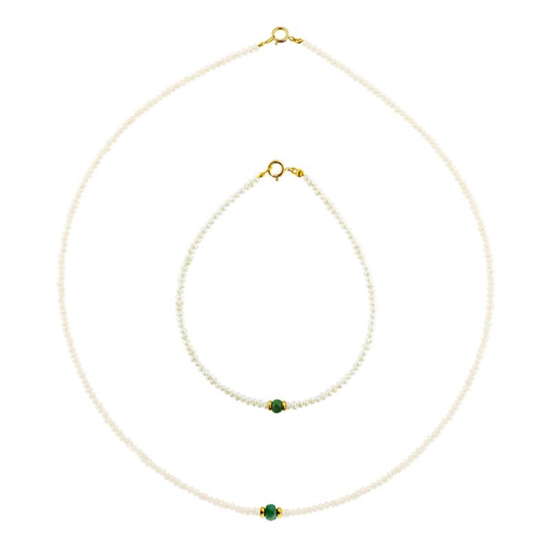 Σετ κολιέ και βραχιόλι με μαργαριτάρια, σμαράγδια και χρυσά στοιχεία Κ14 - M990049