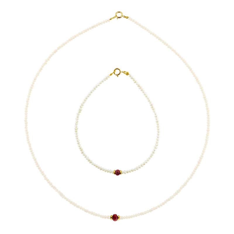 Σετ κολιέ και βραχιόλι με μαργαριτάρια, ρουμπίνια και χρυσά στοιχεία Κ14 - M990050