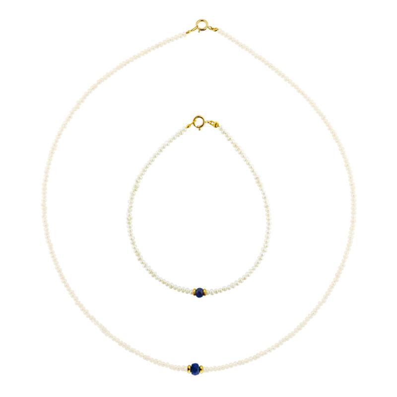 Σετ κολιέ και βραχιόλι με μαργαριτάρια, ζαφείρια και χρυσά στοιχεία Κ14 - M990051