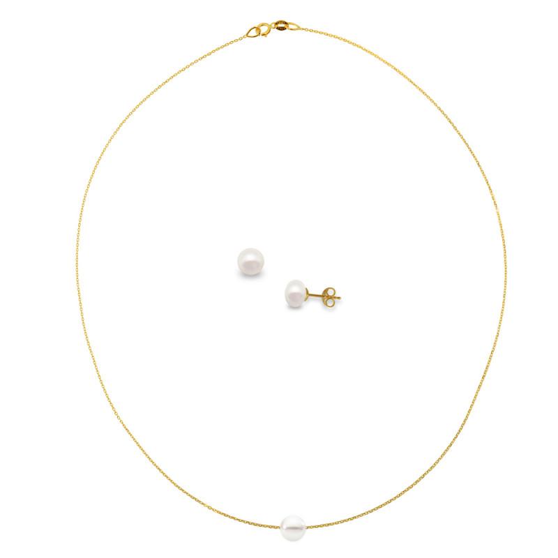 Σετ κολιέ και σκουλαρίκια με μαργαριτάρια και χρυσά στοιχεία Κ14 - M990052