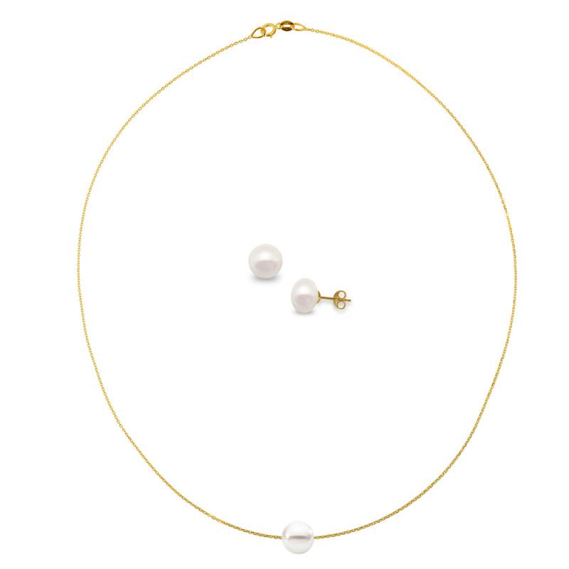 Σετ κολιέ και σκουλαρίκια με μαργαριτάρια και χρυσά στοιχεία Κ14 - M990053