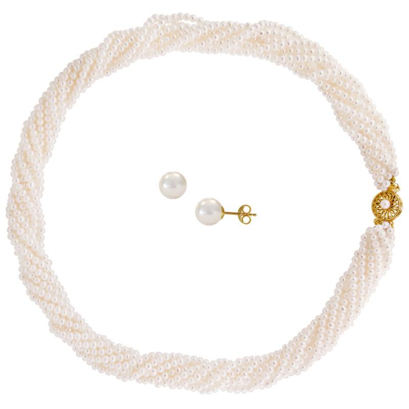 Σετ κολιέ και σκουλαρίκια με λευκά μαργαριτάρια - M990054