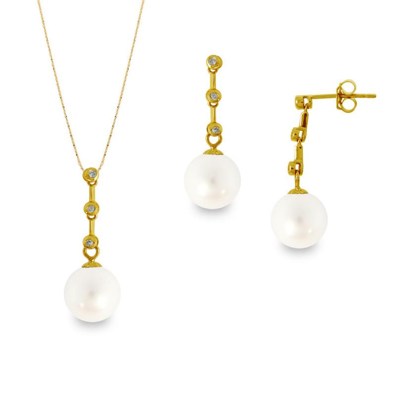 Σετ σκουλαρίκια και μενταγιόν με λευκά μαργαριτάρια - M990055