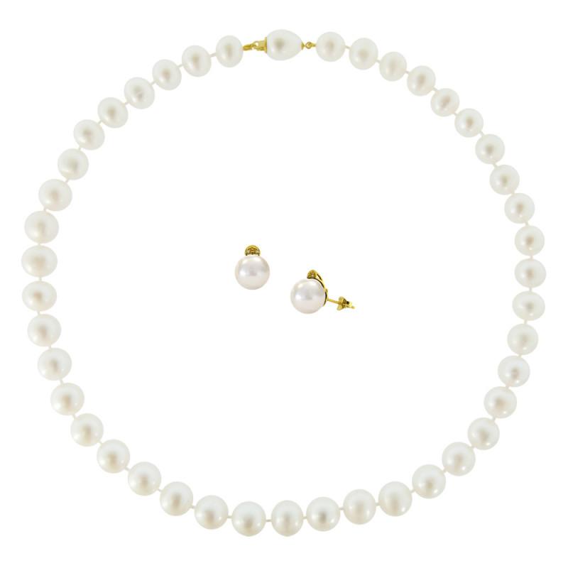 Σετ κολιέ και σκουλαρίκια με λευκά μαργαριτάρια - M990056