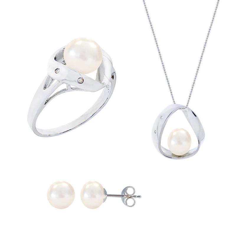 Σετ δαχτυλίδι, μενταγιόν και δώρο σκουλαρίκια με λευκά μαργαριτάρια σε ασήμι 925 - M990057