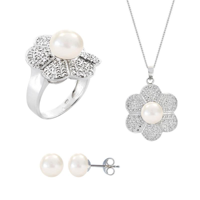 Σετ δαχτυλίδι, μενταγιόν και δώρο σκουλαρίκια με λευκά μαργαριτάρια σε ασήμι 925 - M990058