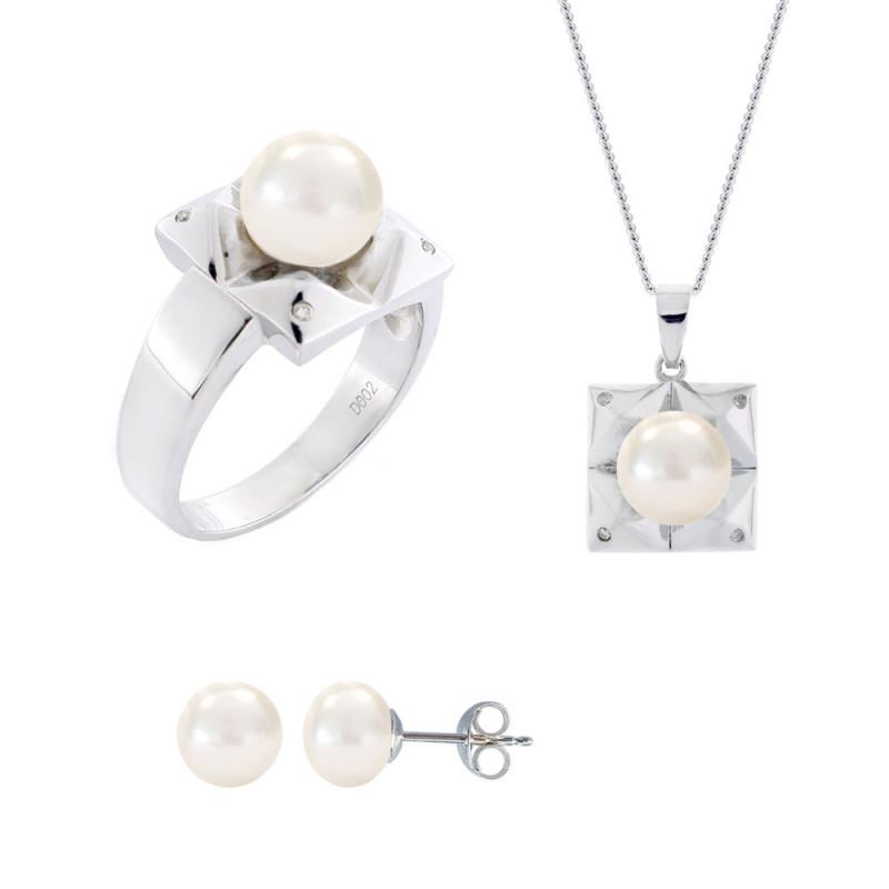 Σετ δαχτυλίδι, μενταγιόν και δώρο σκουλαρίκια με λευκά μαργαριτάρια σε ασήμι 925 - M990059