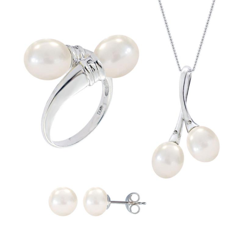 Σετ δαχτυλίδι, μενταγιόν και δώρο σκουλαρίκια με λευκά μαργαριτάρια σε ασήμι 925 - M990060
