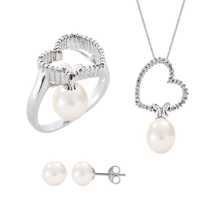Σετ δαχτυλίδι, μενταγιόν και δώρο σκουλαρίκια με λευκά μαργαριτάρια σε ασήμι 925 - M990061