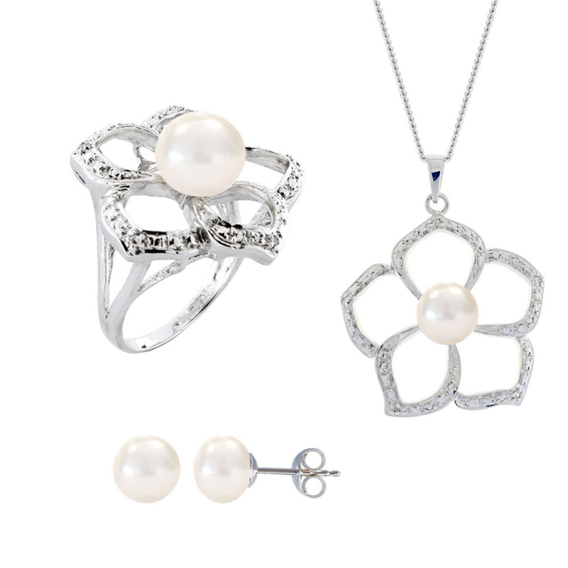 Σετ δαχτυλίδι, μενταγιόν και δώρο σκουλαρίκια με λευκά μαργαριτάρια σε ασήμι 925 - M990062