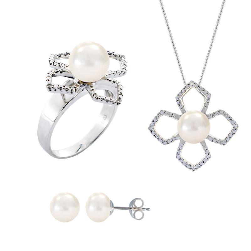 Σετ δαχτυλίδι, μενταγιόν και δώρο σκουλαρίκια με λευκά μαργαριτάρια σε ασήμι 925 - M990063