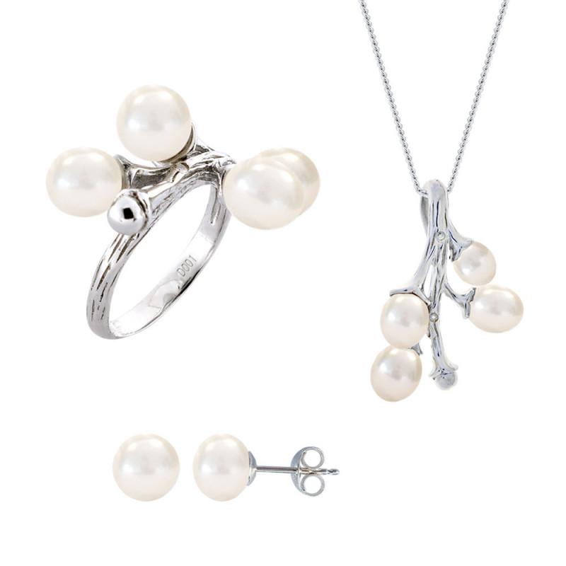 Σετ δαχτυλίδι, μενταγιόν και δώρο σκουλαρίκια με λευκά μαργαριτάρια σε ασήμι 925 - M990064