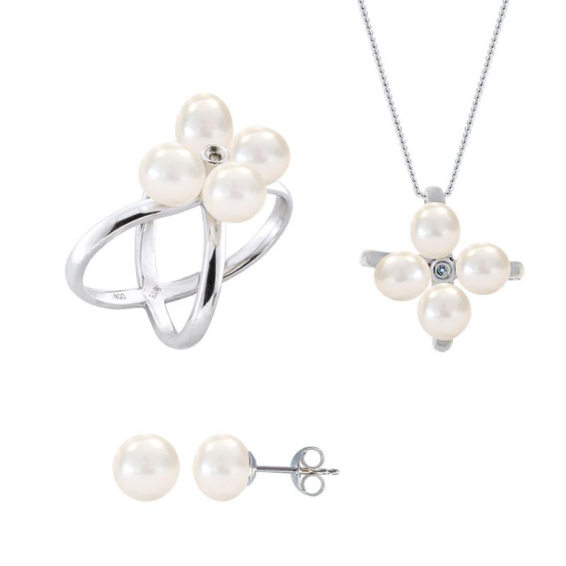Σετ δαχτυλίδι, μενταγιόν και δώρο σκουλαρίκια με λευκά μαργαριτάρια σε ασήμι 925 - M990065
