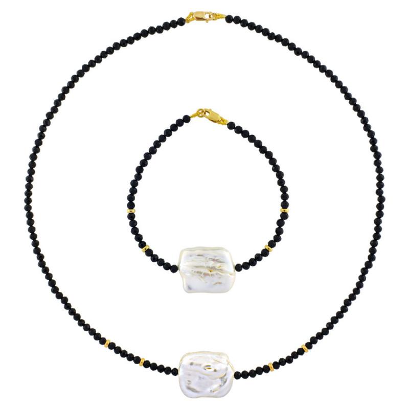 Σετ κολιέ και βραχιόλι με spinel, μαργαριτάρι και χρυσά στοιχεία Κ14 - M990066