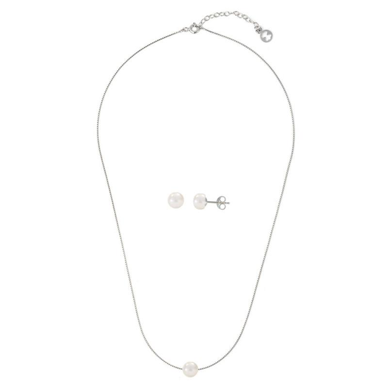 Σετ κολιέ και σκουλαρίκια με λευκά μαργαριτάρια σε ασήμι 925 - M990071
