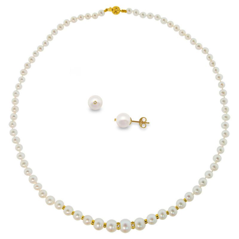 Σετ κολιέ και σκουλαρίκι με λευκά μαργαριτάρια σε χρυσό Κ18 - M990072
