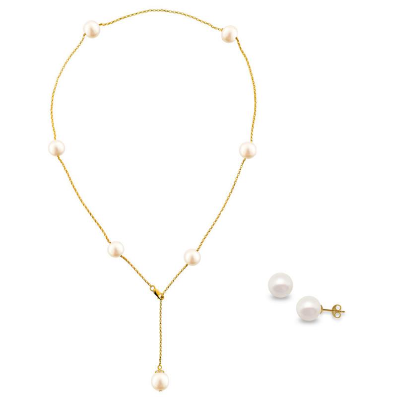 Σετ κολιέ και σκουλαρίκια με λευκά μαργαριτάρια σε χρυσό Κ18 - M990073